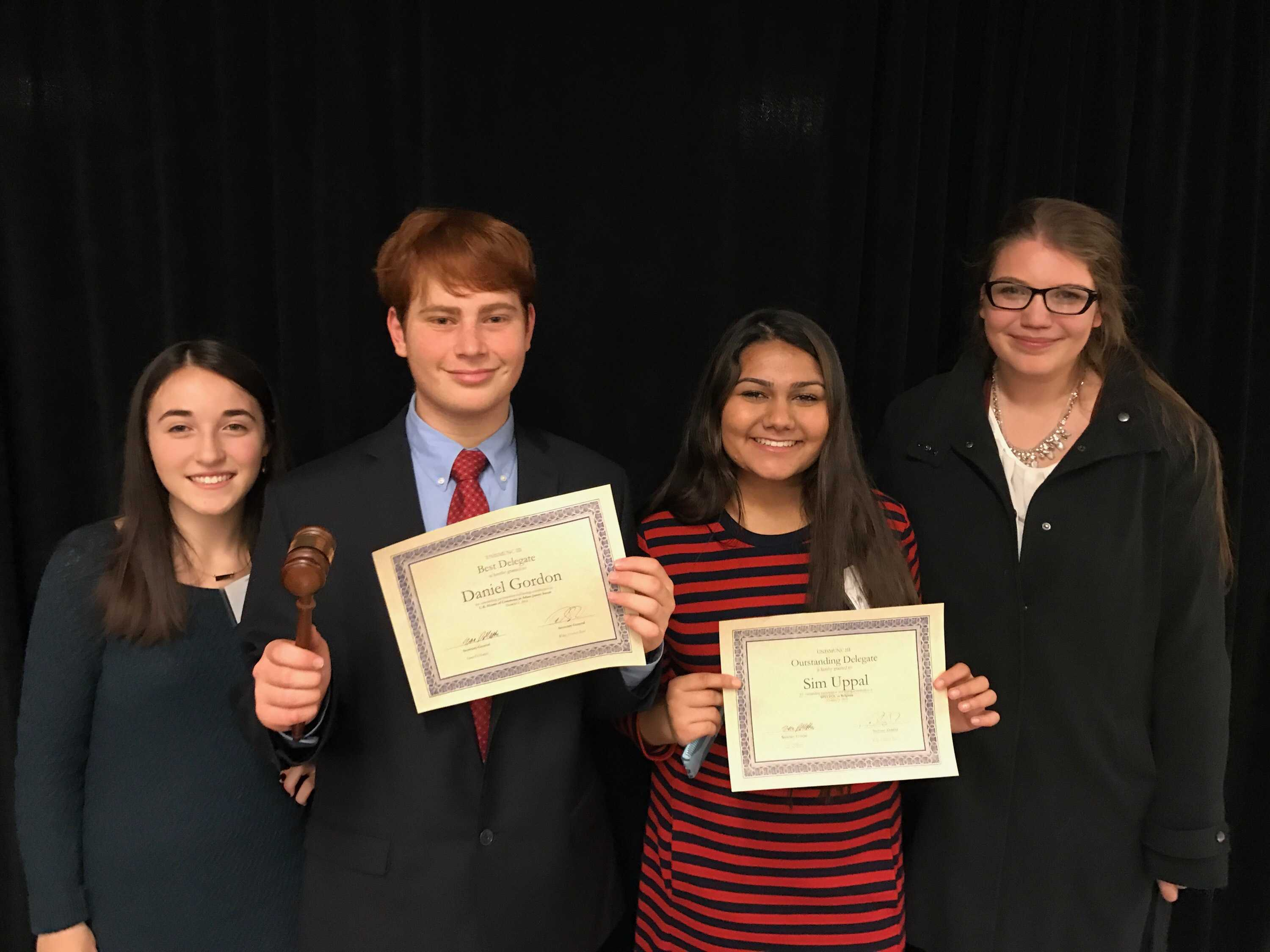 Elyse Sherr (Verbal Commendation), Daniel Gordon (Best Delegate), Simrit Uppal (Outstanding Delegate), and Sophia Decubellis (Verbal Commendation)