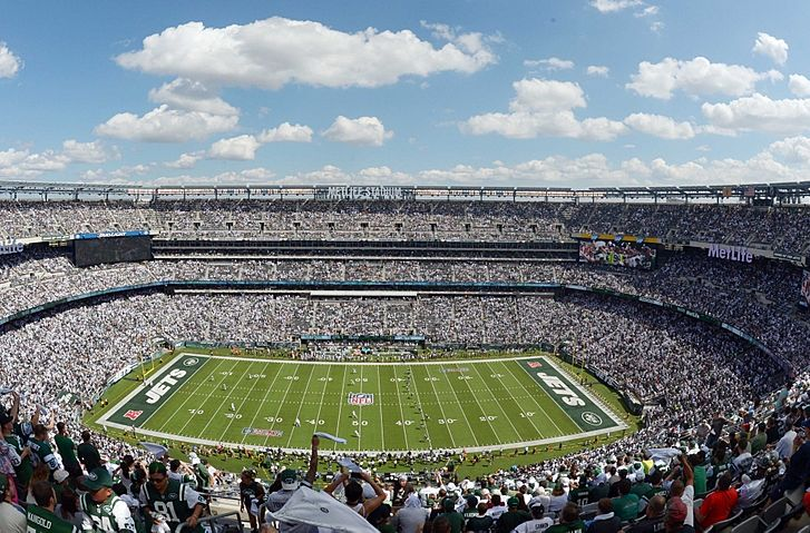 Sep 7, 2014; East Rutherford, NJ, USA; General view of the opening kickoff of the NFL game between the Oakland Raiders and New York Jets at MetLife Stadium. Mandatory Credit: Kirby Lee-USA TODAY Sports